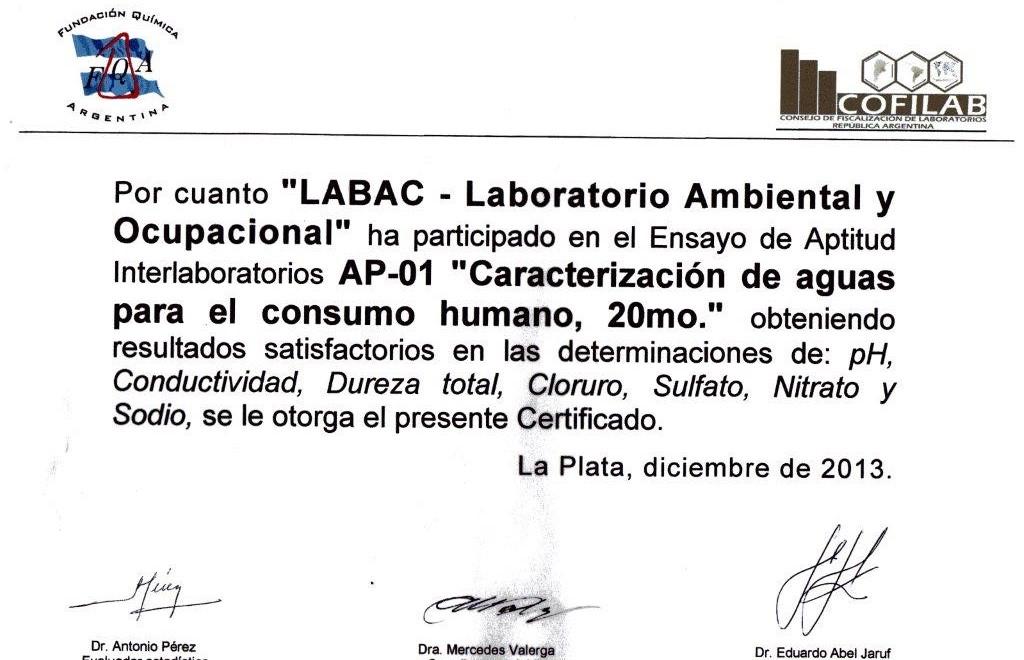 certificado interlaboratorio