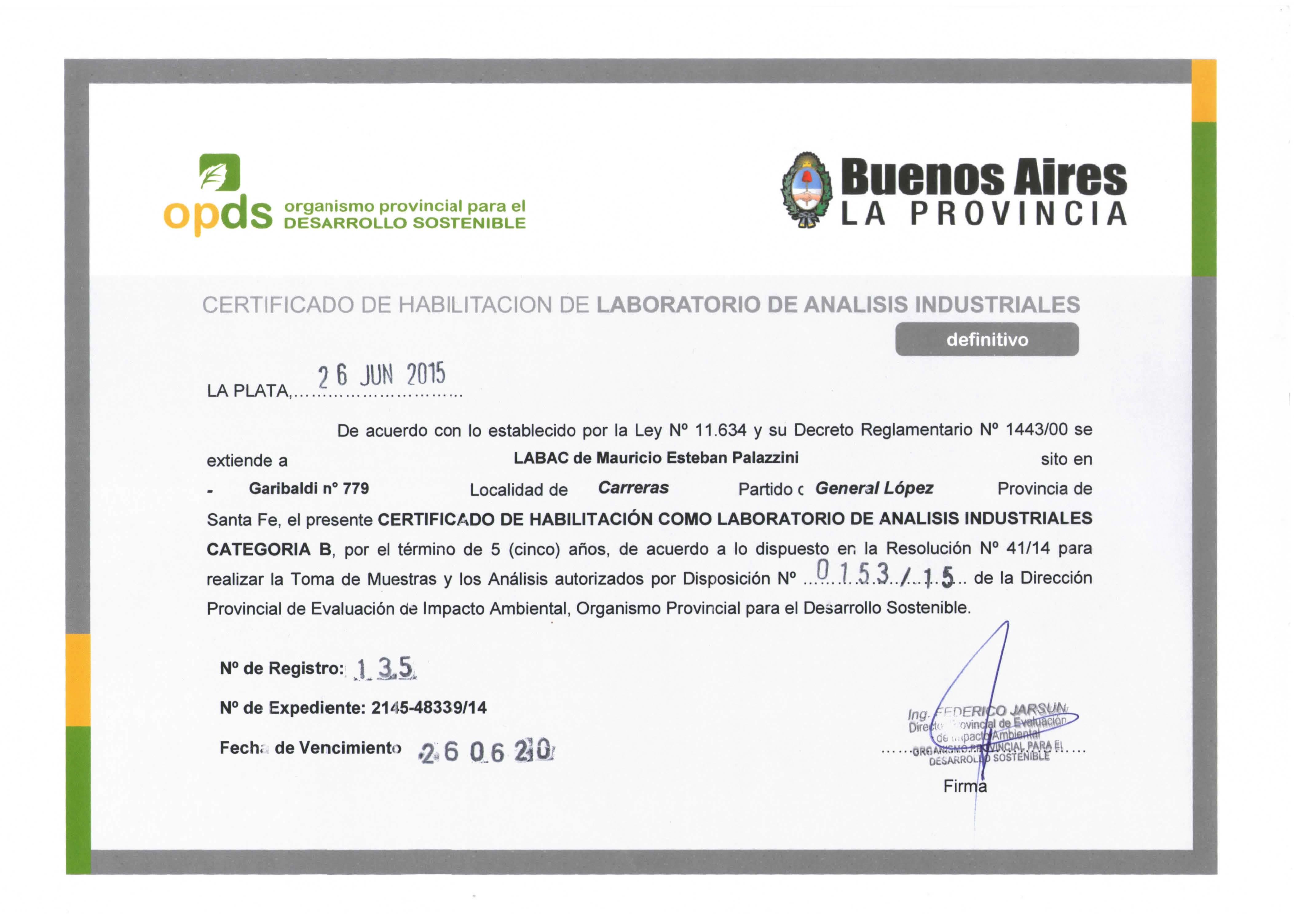 LABAC: laboratorio habilitado en OPDS